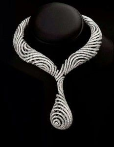 Optical necklace set in white gold with diamonds, Palmiero Jewellery Design