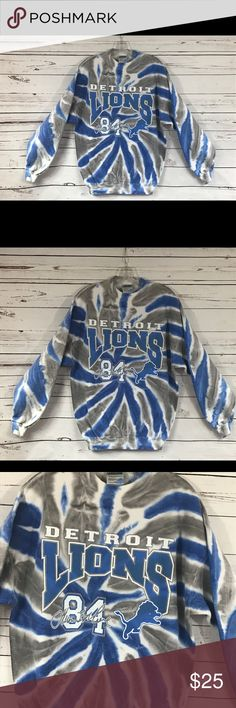 Vintage Detroit Lions Tie Dye Crewneck Sweater L Vintage blue and grey tie dye crewneck cotton sweater with Detroit Lions 84 on the front. The back is just simply tie dye. In excellent vintage condition!   Fits a size Large   Shoulders 24 in  Chest 46 in  Waist 44 in  Length 29 in  Sleeve length 22 in Vintage Sweaters Crewneck