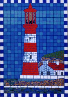 Lighthouse Mosaics | gall_therapy_mosaic_seaside_memories_beach_lighthouse