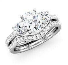 Long lasting love for her with oval diamond ring - three stone bridal engagement set - http://www.mybridalring.com/Rings/a-three-stone-oval-diamond-bridal-engagement-set/
