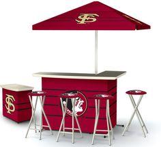 FSU Seminoles Game Day bar, stools, cooler, and even an umbrella! Want!