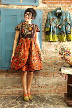 Batik Amarillis Creative Director Selly Hasbullah at Batik Amarillis Studio Wearing Batik Amarillis's Blooming dress ♥