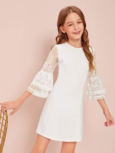 Girls Lace Bell Sleeve Dress - Girls Lace Bell Sleeve Dress Source by - Kids Outfits Girls, Cute Girl Outfits, Girls Fashion Clothes, Tween Fashion, Little Girl Dresses, Girls Dresses, Flower Girl Dresses, Fashion Outfits, Prom Dresses