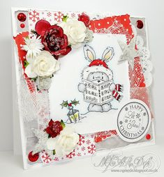 I'm back with another card using the new LOTV 'Carol Singing' stamp set, this set has a lovely selection of characters that. Christmas Bunny, Scandi Christmas, Christmas Cards, Animal Antics, Paper Doilies, Wooden Stars, Organza Ribbon, Digi Stamps, Lawn Fawn