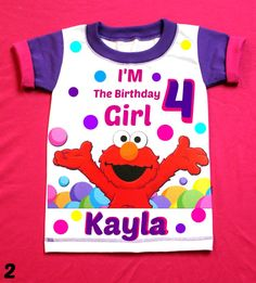Elmo Birthday Girl Shirt Personalized shirt by FantasyKidsParty