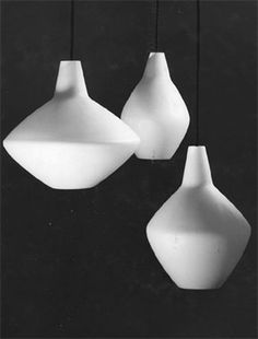 Lisa Johansson-Pape for Stockmann-Orno; Sipuli pendant lamps, blown opal glass, Finland, 1954 (gold medal at Triennale Milan 1954)
