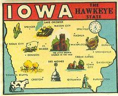 Vintage iowa hawkeye state goldfarb novelty travel water window decal sticker