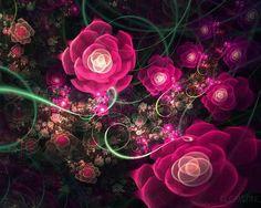 Fractal Roses - flowers, fractal, pink roses, swirls