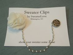 ButtonShop.ca - Vintage Silver Button and Bloom Sweater Clip