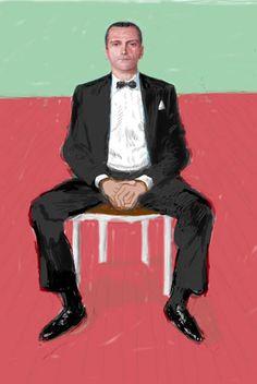 David Hockney Digital portrait of Jeans-Pierre Goncalves De Lima 2008 David Hockney Artist, David Hockney Ipad, David Hockney Portraits, David Hockney Paintings, Peter Blake, Figure Painting, Painting & Drawing, Andy Warhol, Human Figures