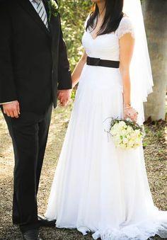 Cap sleeves and black sash. Wedding Photography Inspiration, Sash, Cap Sleeves, Wedding Gowns, Bridesmaid Dresses, Bridal, Formal Dresses, Pretty, Black