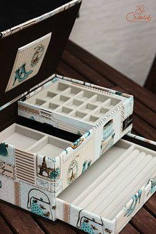 Boîte à bijoux. C'est génial. Il faut adapter une partie de la boite original à la taille requise et après la mettre en cartonnage. Il faut également aligner bien le motif.