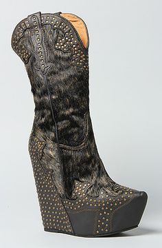 """Jeffrey Campbell   The Giddy Studded Boot in Black Metallic   Western style wedge boot with stud detail throughout; ponyhair and leather upper; man-made sole; 5.5"""" heel with 1.5"""" platform and 8"""" shaft."""