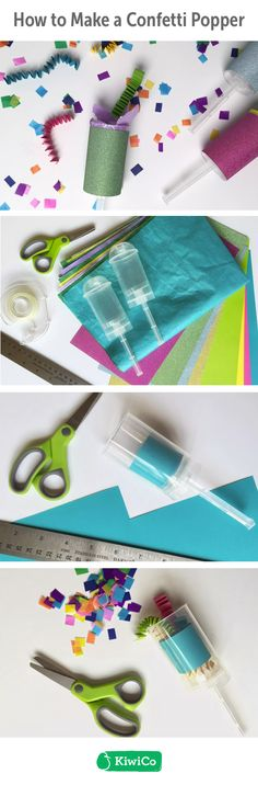 Confetti Popper DIY. Not only does it keep the kids and adults entertained, but you'll get some great Insta-worthy pictures from the colorful confetti launching in the air! activities for kids, arts and crafts, fun, easy, boys, girls, new years, paper, ideas, indoor, at home, creative, winter