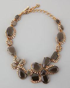 Oscar de la Renta - Flower Crystal Necklace, Gray