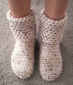 Slipper Boots! So toasty warm! – CROCHET | Crochet And Knitting Patterns