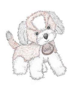 Puppy Nursery Art Original Drawing Print Puppy Dog by SoakStudio, $24.00
