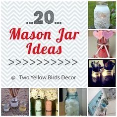 As we all know Mason Jars are really big right now. I have loved getting on the bandwagon and making different crafts and decor with the. Crafts To Do, Mason Jars, Crafty, Yellow Birds, Bottle, Antiques, Creative, Projects, How To Make