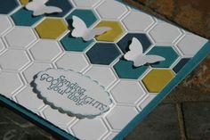 hexagon embossing folder | Paper: Island Indigo (#122923) , Midnight Muse (#126843) , Summer ...