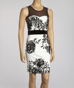 Take a look at this Ivory & Black Rose Dress by Bailey Blue on #zulily today!