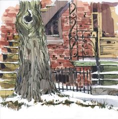 Through the trees this winter | Urban Sketchers