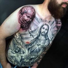 Guys Good Shepherd Religious Tattoo Male Torso