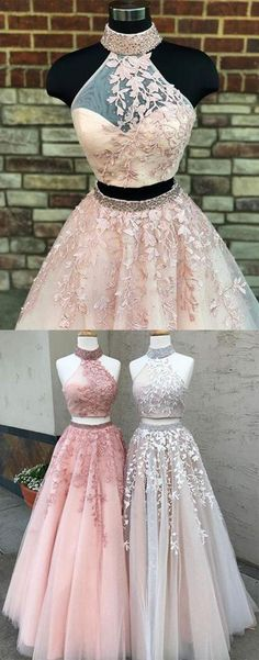 New high neckline long lace formal prom dress, long two pieces homecoming dress