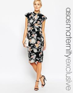 ASOS Maternity Wiggle Dress In Floral Print