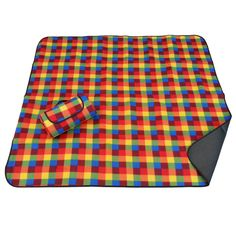 This is our square rainbow plaid outdoor blanket. It looks even better up close!