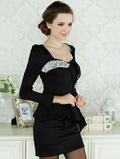 Women's Solid Color Square Collar Flouncing Slim Hip Package Dress on DressLuck.com