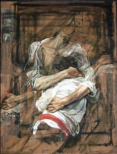 SAFET ZEC, Abbraccio, 1995, tempera & collage on canvas, cm 160 x 120. http://www.galleriadelleone.com/images/exhibitions/zec-evangelista/30.jpg