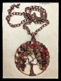 Autumn copper tree of life pendant