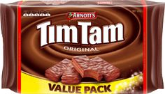 Arnott's Tim Tam Indulgence Biscuits 365g, The Original Indulgence Tim Tam  An extra large pack of 20 original Tim Tams.  The cream used in Tim Tams is a delicate mixture of vanilla, butter and chocolate that complements the biscuit base and the chocolate. It's this unique cream which sets Tim Tam apart from any other chocolate biscuit.