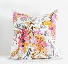 Golden Wisteria original design in sunset colours -linen/cotton Pillow Cover with invisible zipper Watercolor Design, Floral Watercolor, Watercolour, Toss Pillows, Throw Pillow Covers, Sunset Colors, Floral Pillows, Decorative Cushions, Design Studio