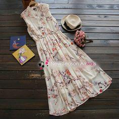 Floral Chiffon Sleeveless Shirtdress - YOYO | YESSTYLE
