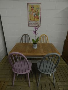 Beautiful Extending Ercol Table with 4 Windsor chairs painted with Annie Sloan SOLD
