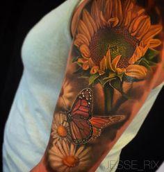 Butterfly, Sunflower & Daisies Tattoo
