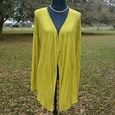 "Chartreuse Textured Knit Cardigan Nice chartreuse long sleeve cardigan, no button front. Has long tails in the front. Really nice textured knit design. Nice and stretchy. Go great with jeans or a skirt. Size is small/Tall but it's so stretchy it fits me, I wear a large. Long sleeves measure 26"" from shoulder seam. Measures 27"" from back neck. 32"" from neck edge to front tails. New with tag. Fontana Sweaters Cardigans"
