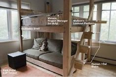 Pallet bunk bed - don't love all the details but interesting how seating also built-in
