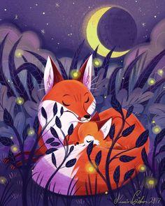 Mother Fox and baby Fox Fuchs Illustration, Art And Illustration, Animal Drawings, Art Drawings, Drawing Animals, Art Plastic, Fox Drawing, Pet Fox, Fox Art