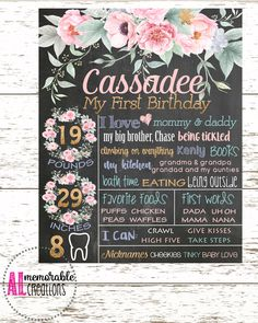 Girl's First Birthday Chalkboard/Floral Birthday Chalkboard/Pink and Gold Chalkboard/First Birthday Poster/Personalized Milestones by ALMemorableCreations on Etsy