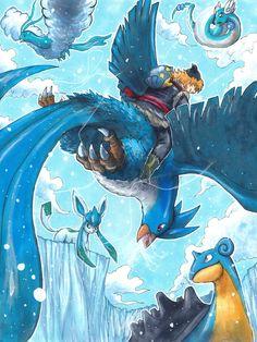 Frozen x Pokemon: Ice Gatherers Team by matsuyama-takeshi.deviantart.com on @deviantART (Trainer with Spheal, Lapras, Glaceon, Altaria, Dragonair, Articuno)