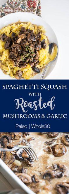 A great one-pan weeknight dinner recipe! | paleo recipes | Whole30 recipes | spaghetti squash recipe | mushroom recipes | perrysplate.com