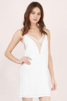 Dreamgirl Mesh Shift Dress at Tobi.com   | Find this and many more must have little white dresses at www.tobi.com | #SHOPTobi | #LittleWhiteDress |