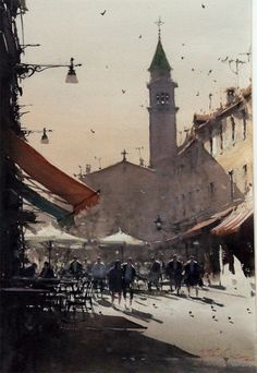 zbukvic - Buscar con Google Watercolor Artists, Watercolor Landscape, Landscape Art, Landscape Paintings, Watercolor Paintings, Joseph Zbukvic, Cityscape Art, Great Paintings, Urban Sketching