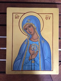Theotokos Panagia Fatima MADE TO ORDER Handpainted Eastern Orthodox icon 22karat | eBay
