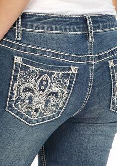 NWT's Miss Earl Jean Size 10 Bling Me Sexy Fleur de Lis Straight Leg Jeans-NWT'S #EarlJean #StraightLeg