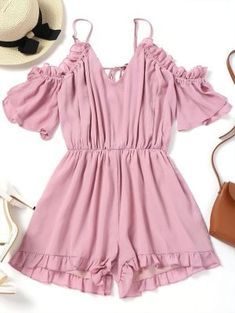 Frilled Cold Shoulder Romper - Pink M