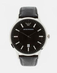 Mega cool Emporio Armani AR2411 Leather Watch - Black Emporio Armani Ure til Herrer til hverdag og til fest