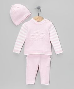 Another great find on #zulily! Tots Fifth Avenue Pink Stripe Knit Sweater Set by Tots Fifth Avenue #zulilyfinds